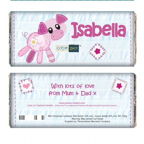 Personalised Cotton Zoo Organdie the Piglet Chocolate Bar